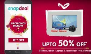 Snapdeal Monday sale 12 oct 2015