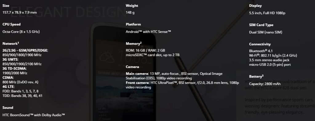 HTC Desire 828 Specification