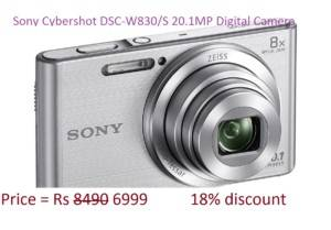 Sony Cybershot DSC-W830/S 20.1MP Digital Camera ( Silver) with 8x Optical Zoom, Memory Card on amazon freedom sale
