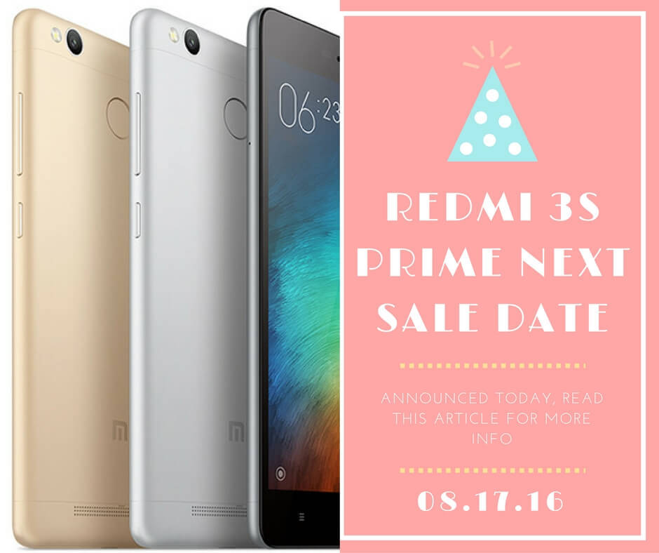Redmi 3s Prime next sale Date