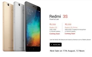 redmi 3s prime next sale