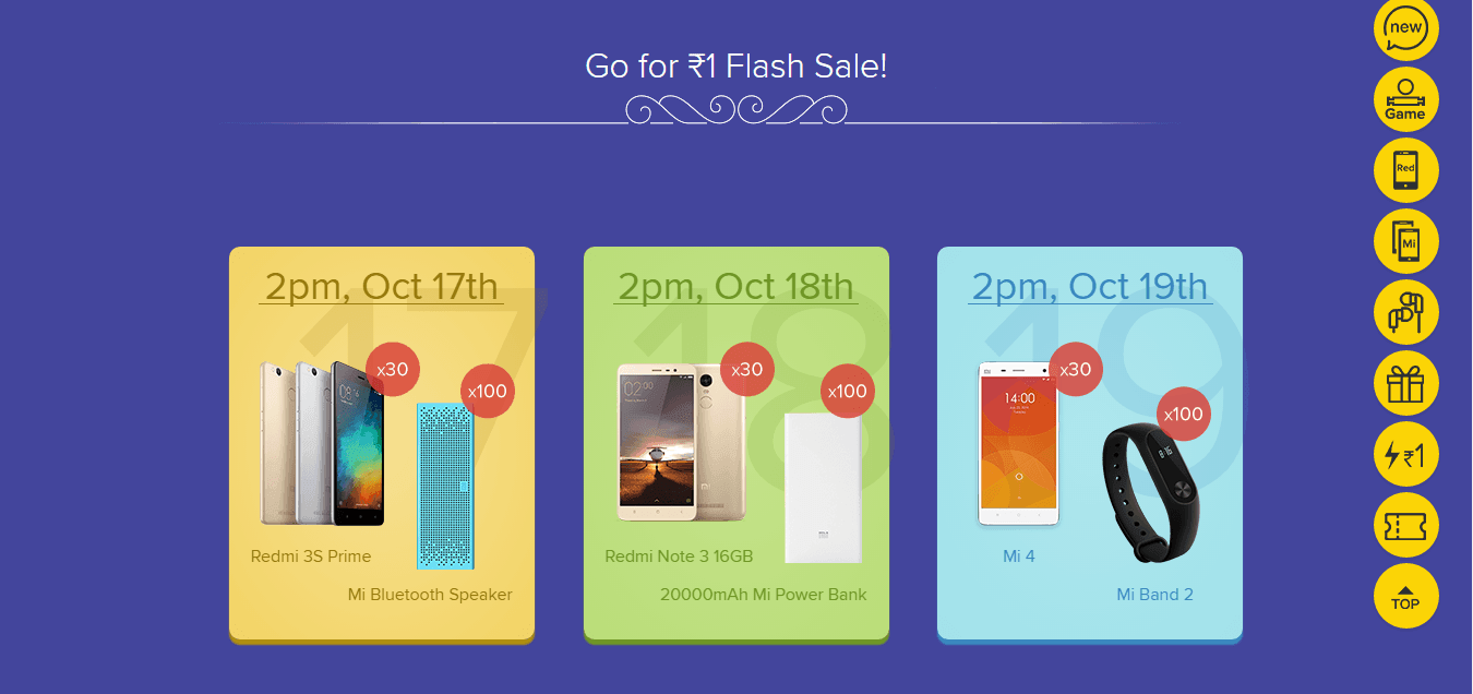 mi 1rs flash sale diwali sale