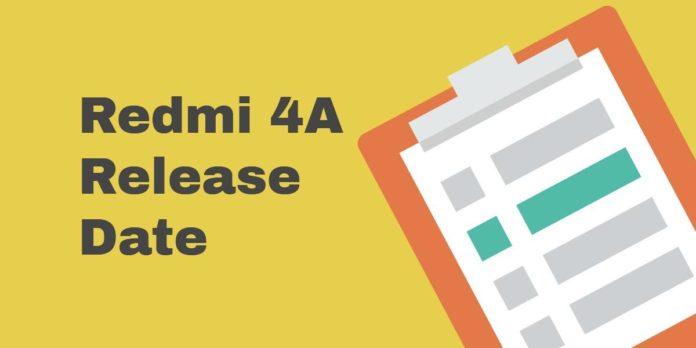 Redmi 4A Release Date in India