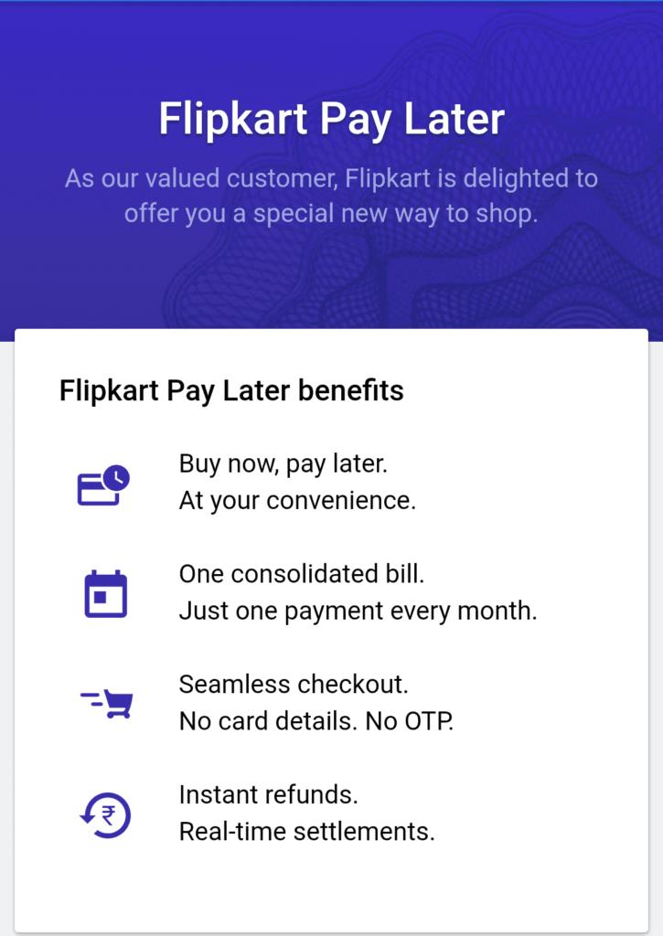 Flipkart Buy Now Pay Later Option