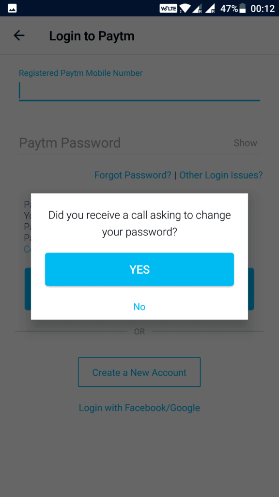 Paytm Facebook Google login problem solution