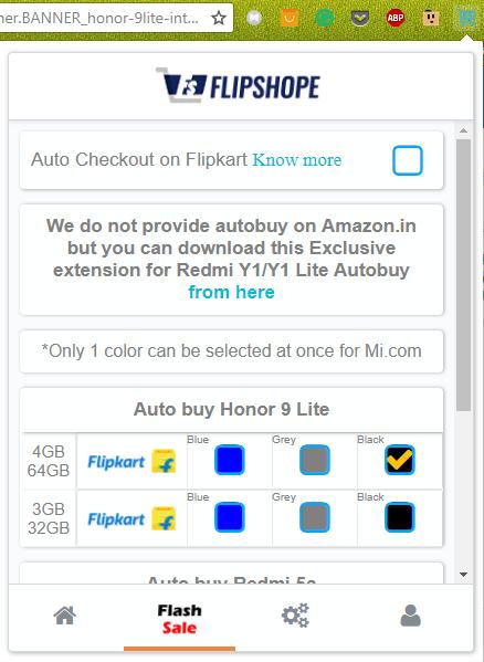 How to Buy Honor 9 Lite Flash Sale trick Script on Flipkart Site