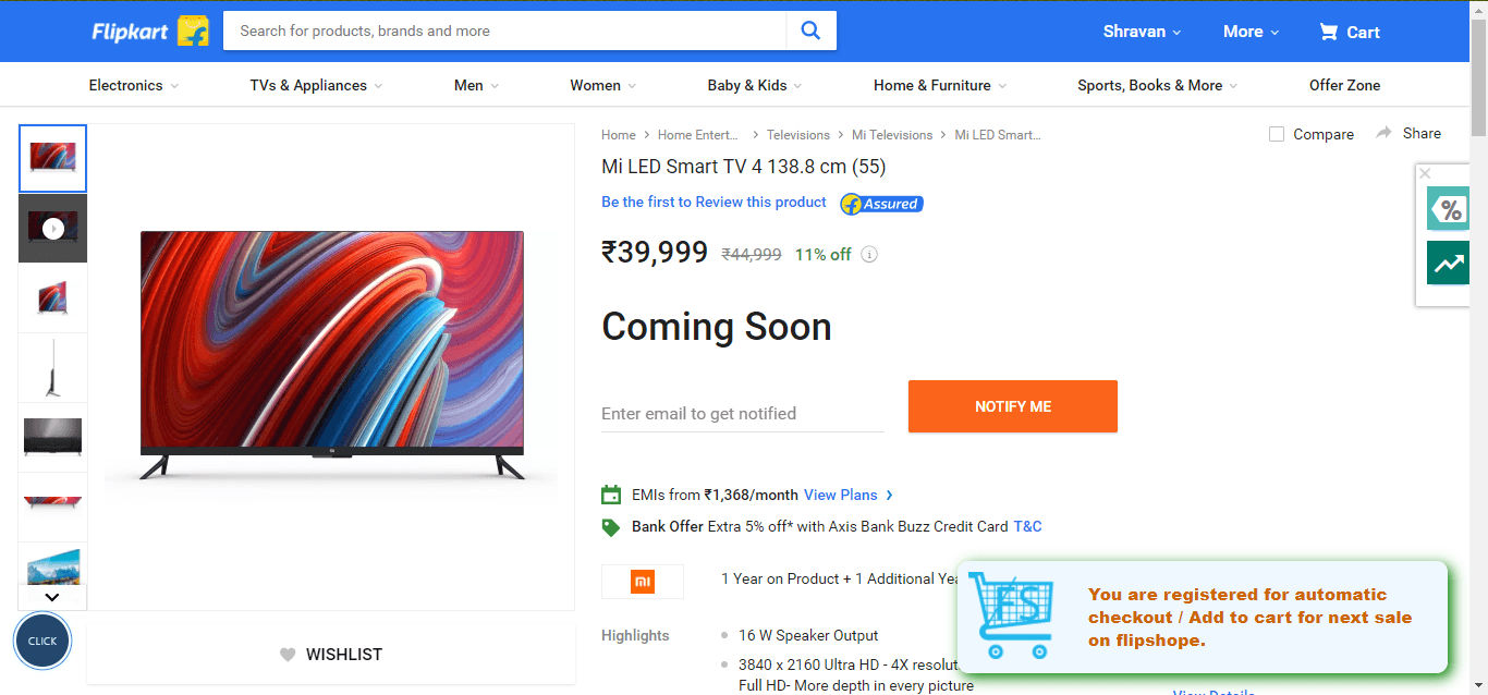 mi smart led tv 4 flash sale