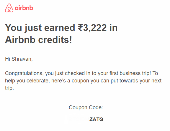 Airbnb business travel coupon