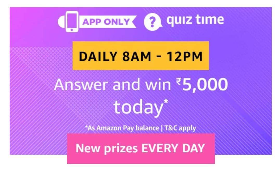 Amazon Quiz Answers - Win 5000