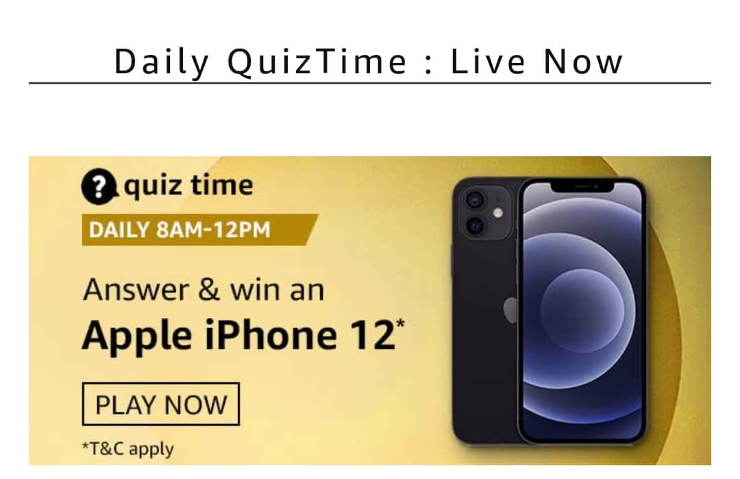 Amazon Quiz Answers - Win Apple iPhone 12